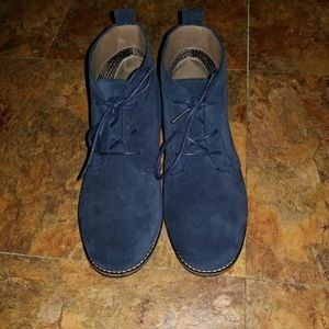 Classic Chukka Auburn Blue Lace Up Suede Booties
